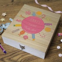 Wooden Retro Sweet Box - ' Sweet Collection' PINK